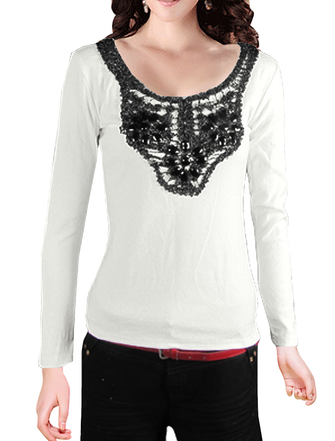Size XS White Long Sleeve Bead Decor Cotton Shirt for Ladies