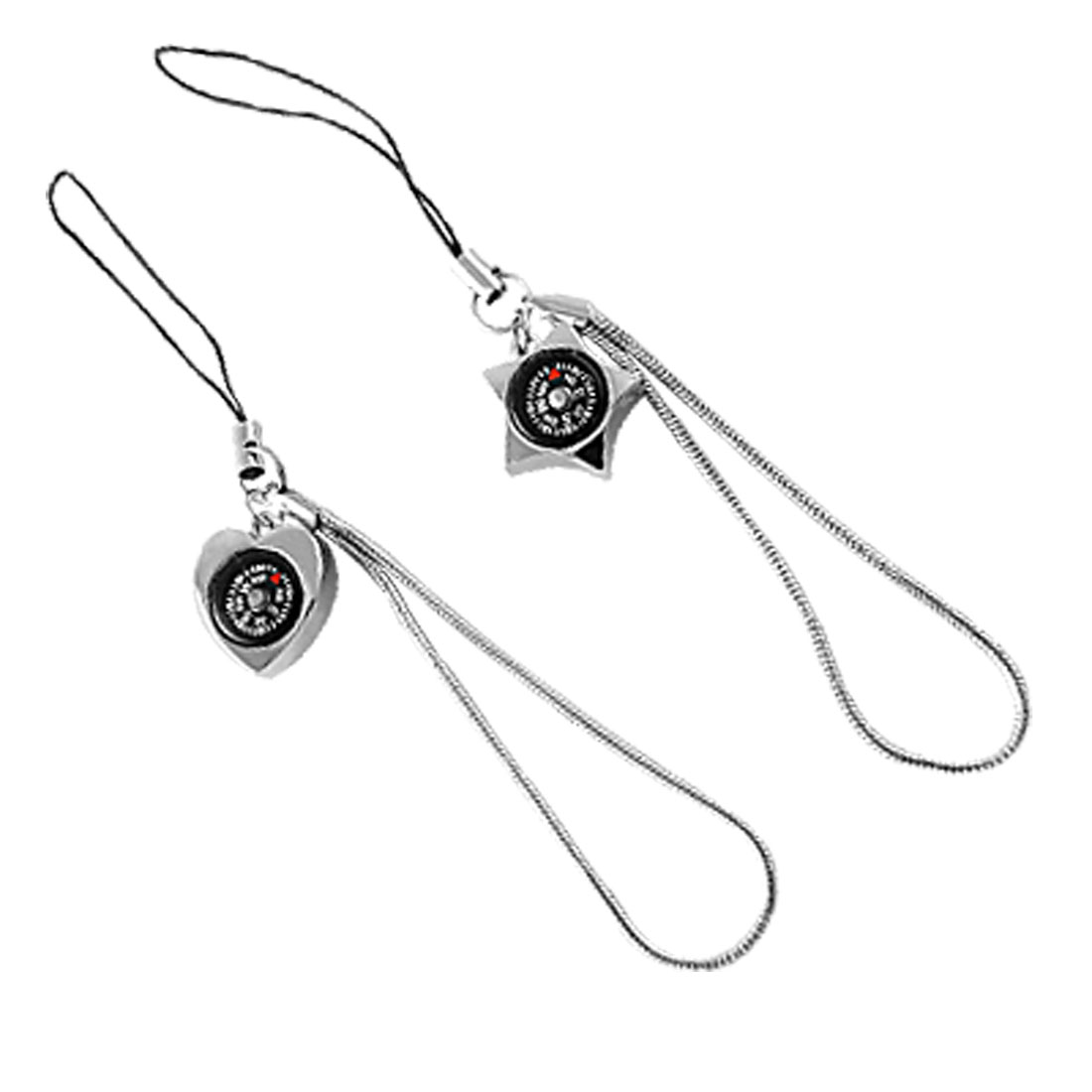 Pair Star Heart Shape Compass Pendants Phone Strap Decor for Lovers