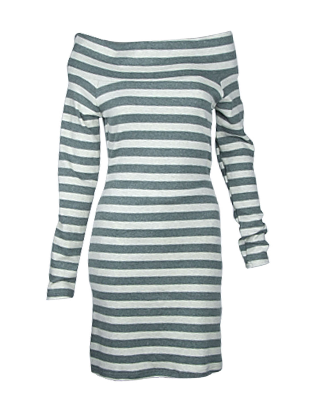 Size XS Olive Green Offwhite Stripe Style Boat Neck Shirt for Ladies
