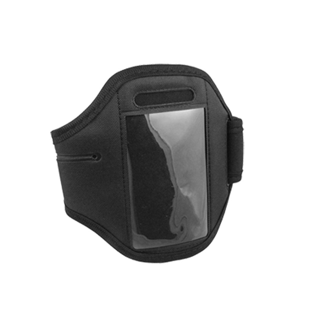 Black Adjustable Hook and Loop Fastener Faster Armband Holder for Mobile Phone
