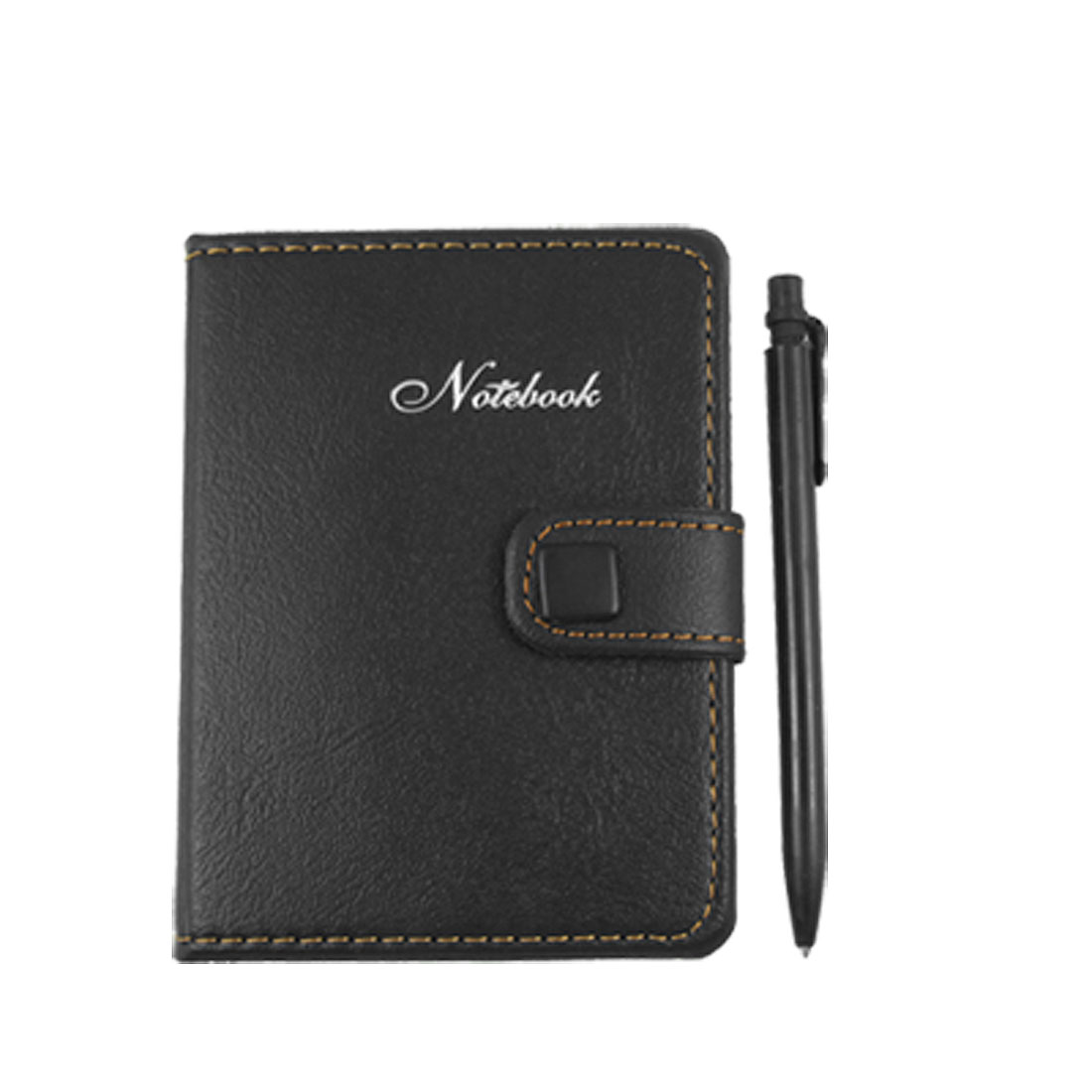 Faux Leather Cover Memo Writing Notebook With Pen Black