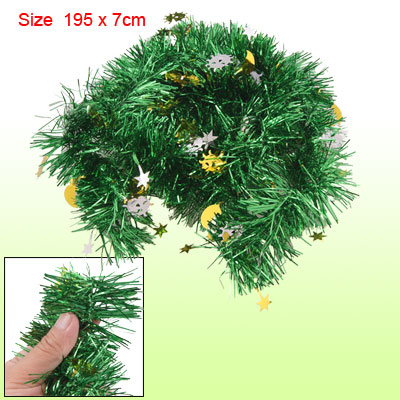 195cm Length Sun Moon Star Shiny Green Christmas Tinsel Garland