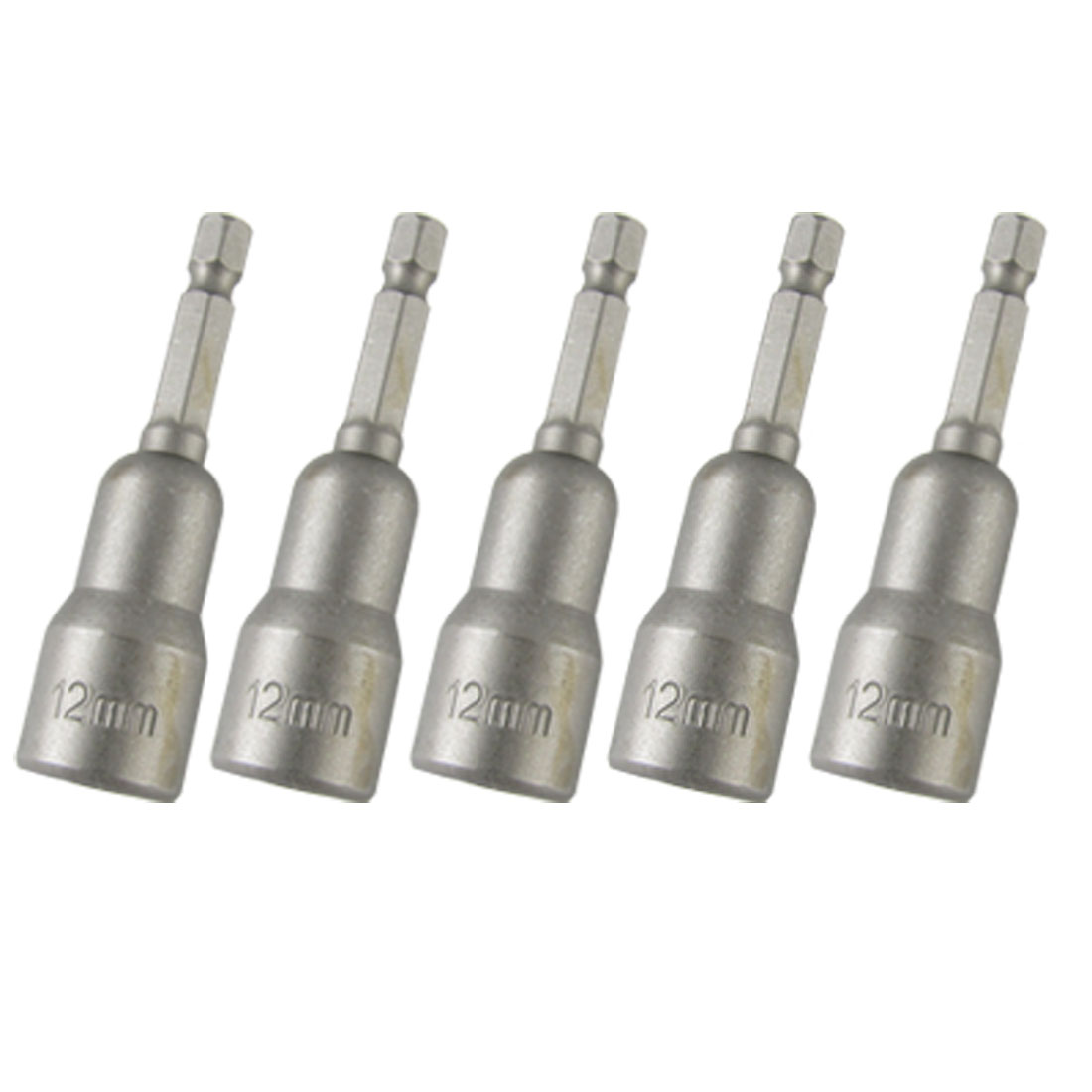 5 Pieces 12 x 65mm Nut Setter Driver Hex Socket Bits Kit