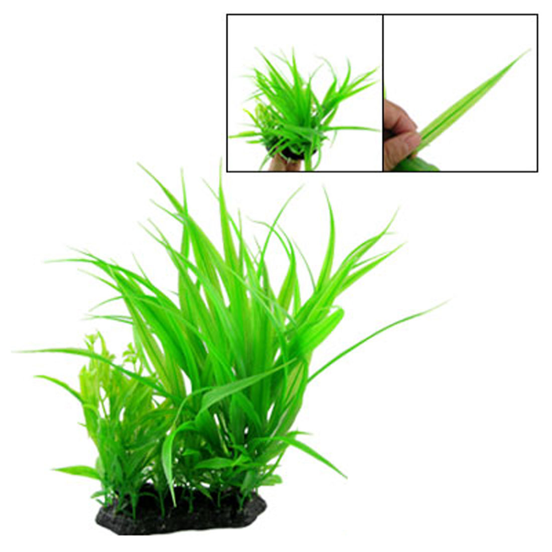 Green Plastic Grass Plants Ornament W Flower for Fish Tank Aquarium