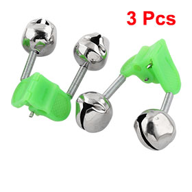 3 Pcs Bite Alarm Fishing Rod Pole Twin Ring Bells w Clip Green