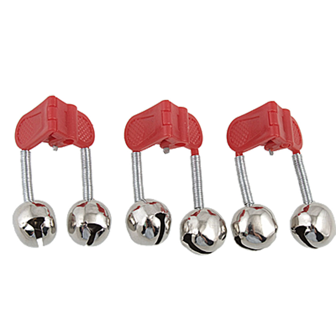 3 PCS Fishing Rod Alarm Round Twin Alert Bell Red w Clip