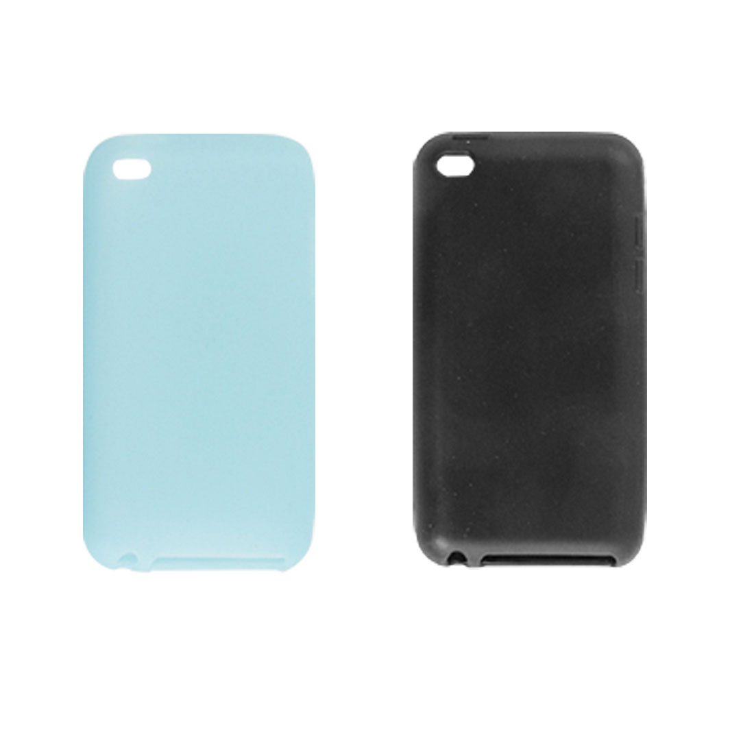 Black Blue Silicone Skin 2 Pcs Back Case for Apple iPod Touch 4G
