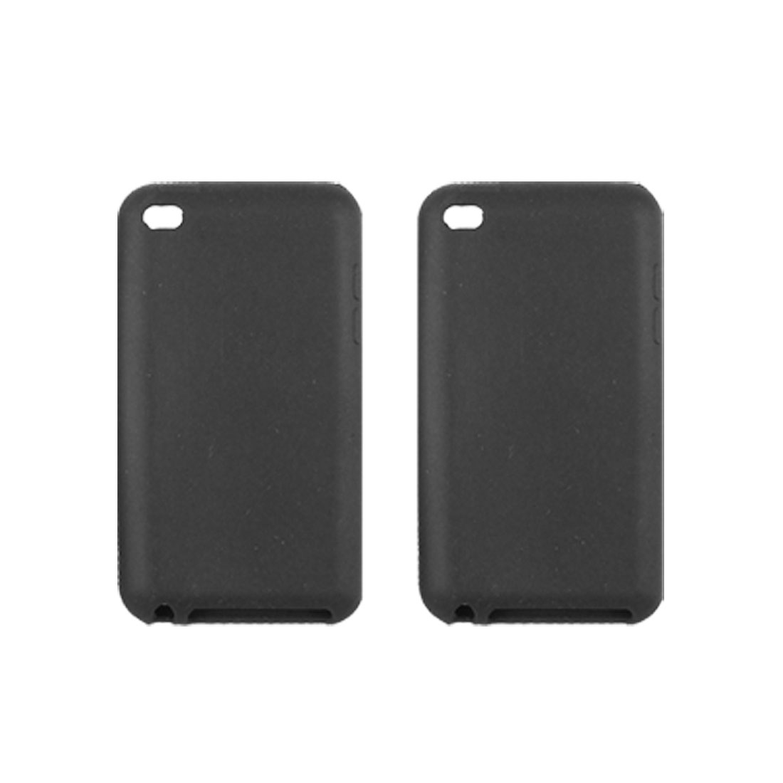 Silicone Skin 2Pcs Black Protector for iPod Touch 4G