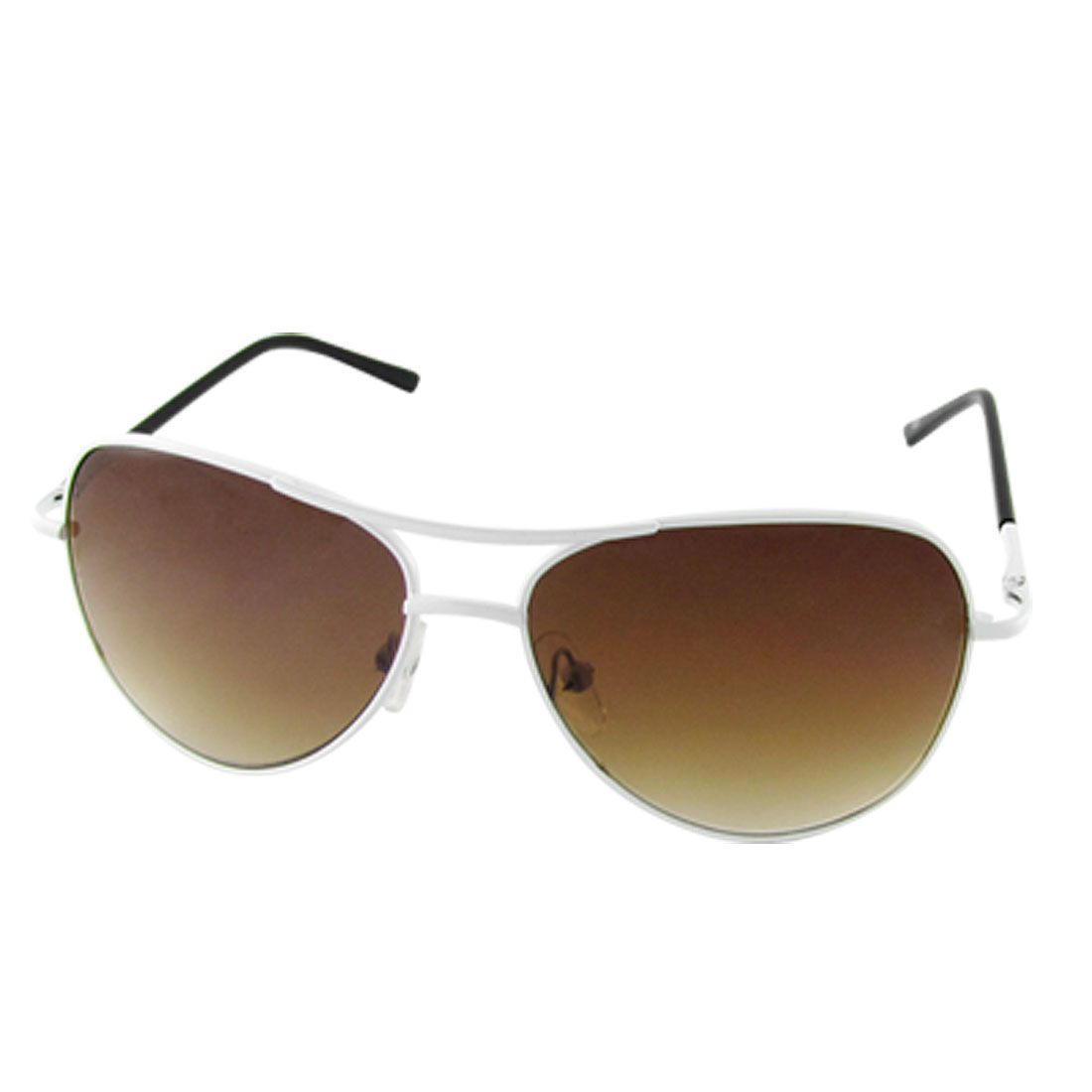 Child White Full Rim Tan Lens Double Bridge Sunglasses