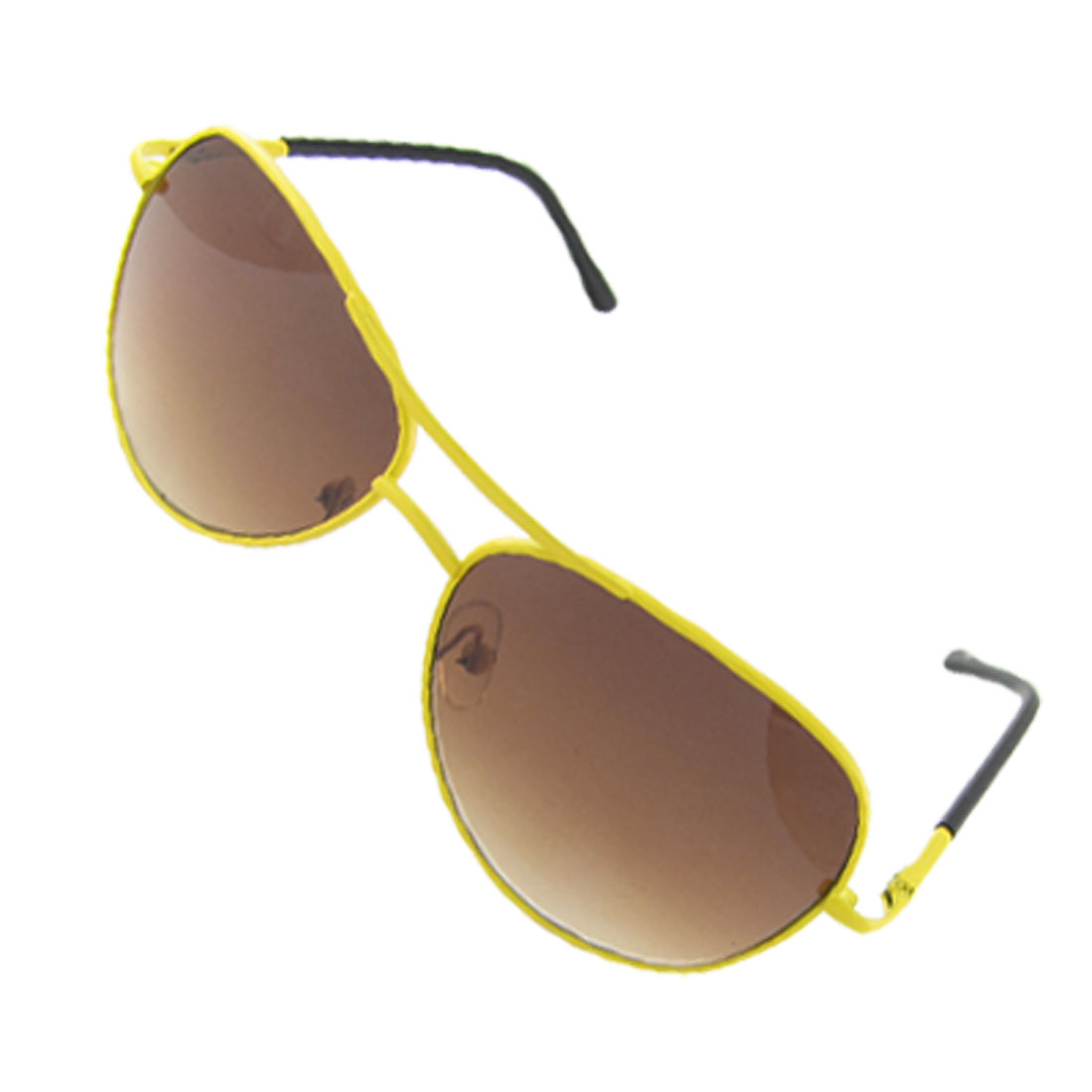 Yellow Metal Frame Oval Tan Lens Sunglasses for Children