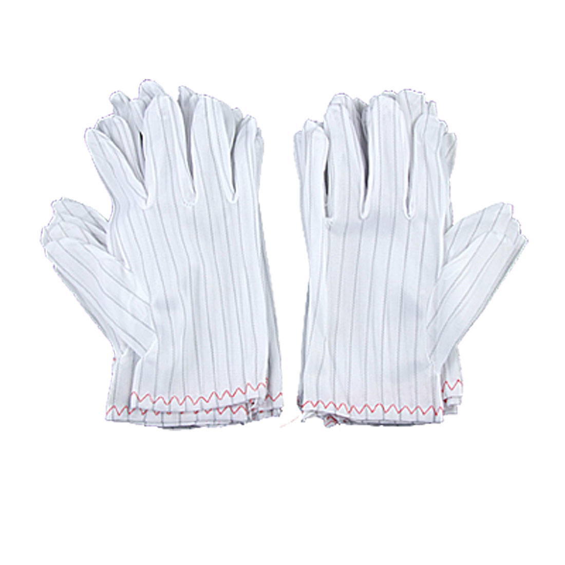 White Black Striped Style Anti-Static Gloves for Adult 10 Pair XS