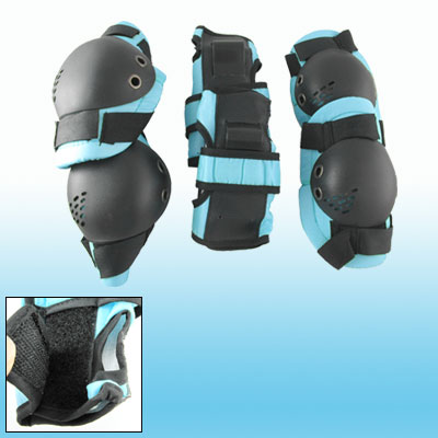 Children Skate Sports Knee Elbow Wrist Guard Support Skyblue Black