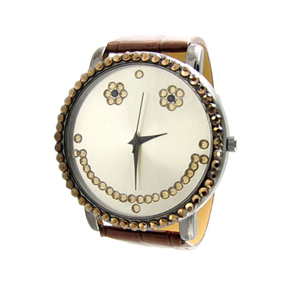 Round Dial Brown Faux Leather Band Rhinestone Watch