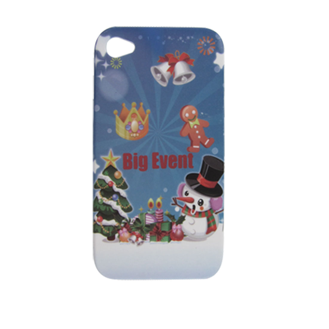 Snowman w X'mas Tree Bell Rubberized Hard Plastic Cover for iPhone 4 4G