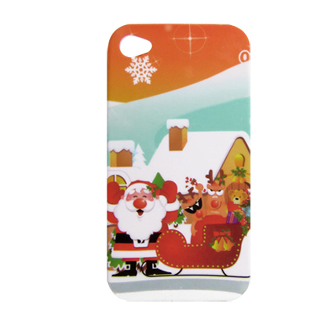 Santa Clause w Sled Pattern Rubberized Hard Plastic Back Case for iPhone 4 4G