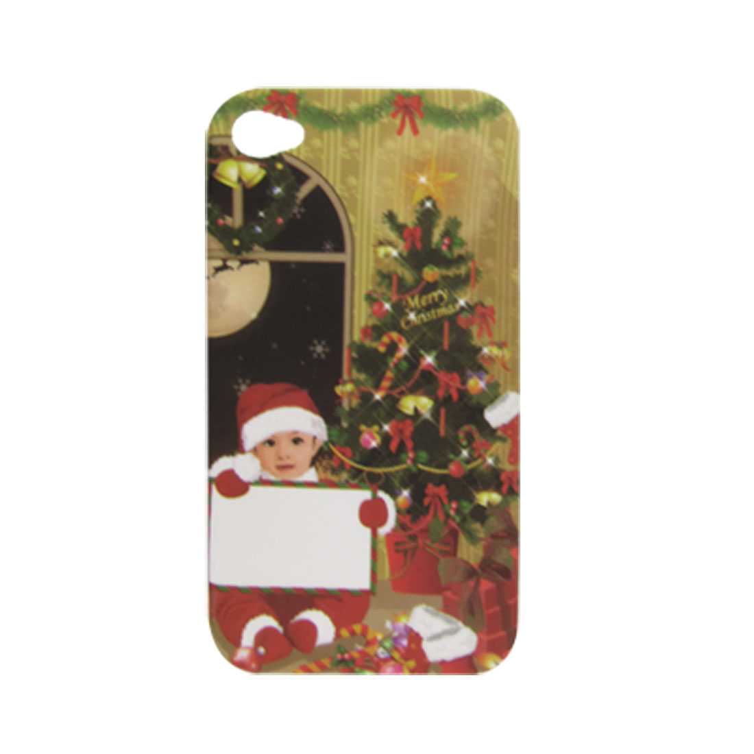 X'mas Tree w Baby Santa Rubberized Plastic Hard Back Case for iPhone 4 4G