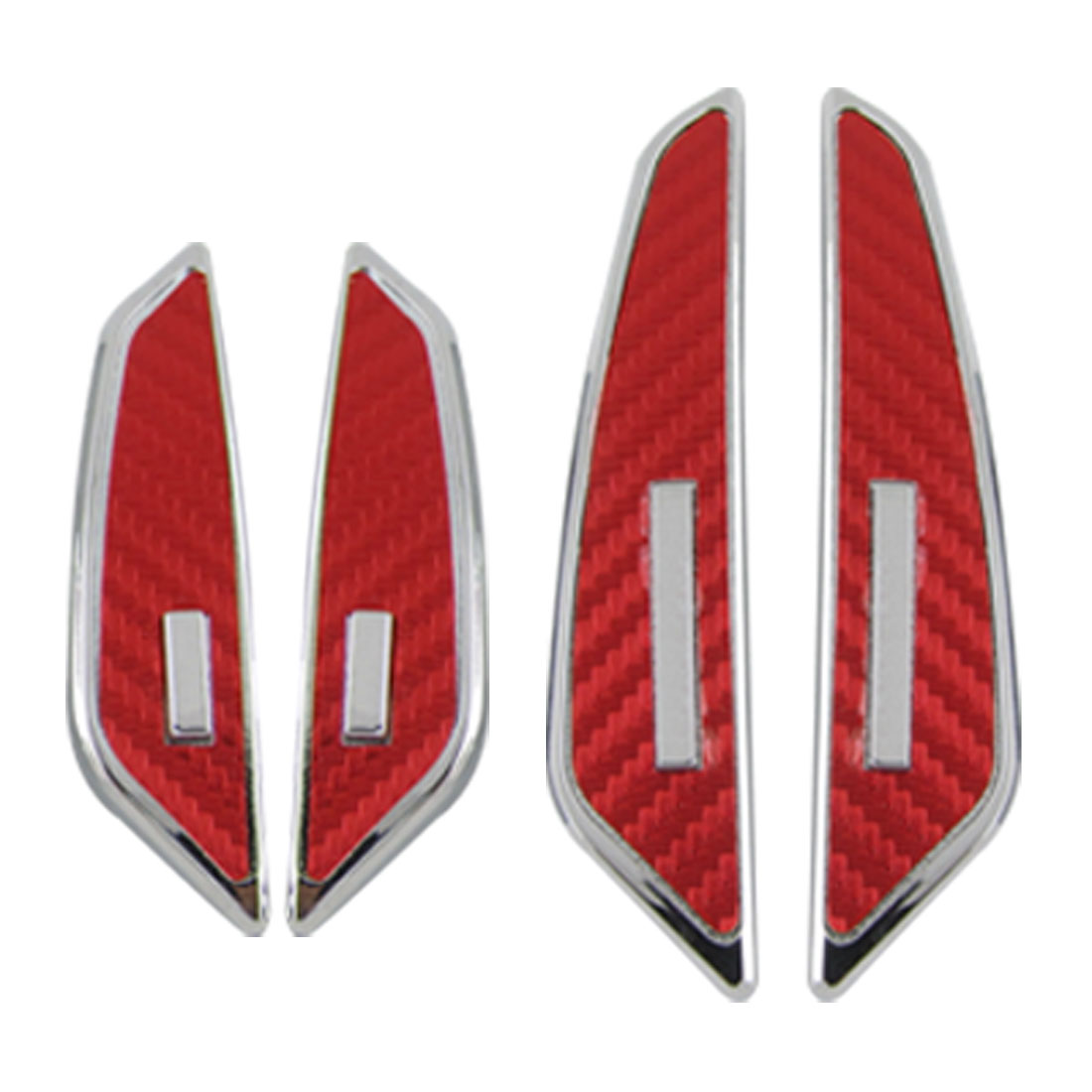 Red Sliver Tone Woven Pattern Car Door 3D Sticker Guard 4 Pieces