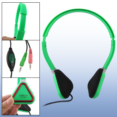 Green Triangle Ear Pad Adjustable 3.5mm PC Headset w Volume Control