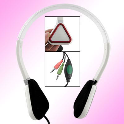 White Triangle Ear Pad Adjustable 3.5mm PC Headset Headphone