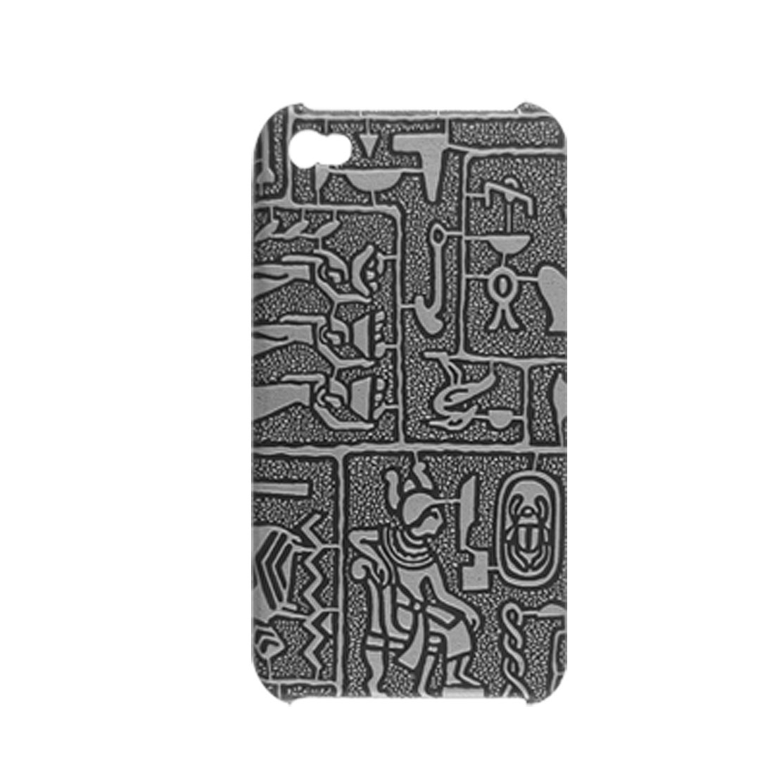 Gray Ancient Wall Painting Coated Plastic Cover for iPhone 4 4G