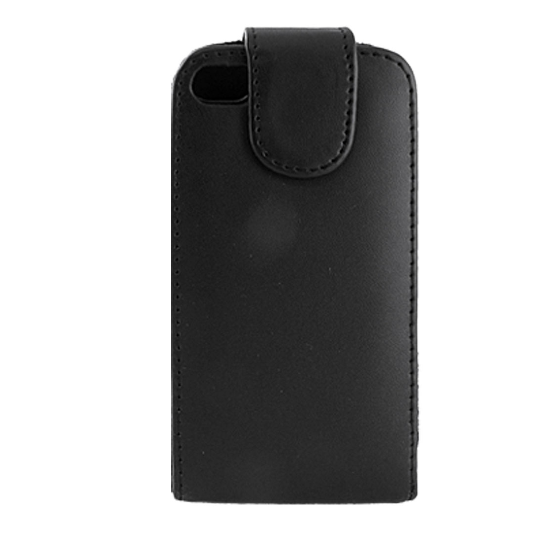 Black Flip Flap Vertical Faux Leather Pouch Case for iPhone 4 4G