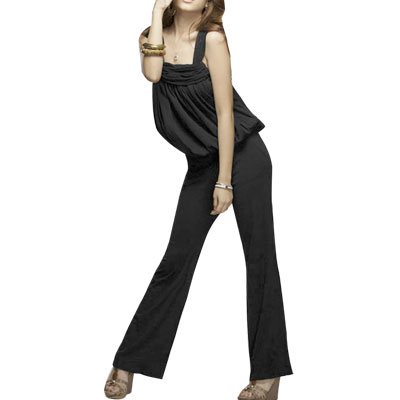 Full Leg Black Halter Straps Jumpsuit Clothes XS for Lady