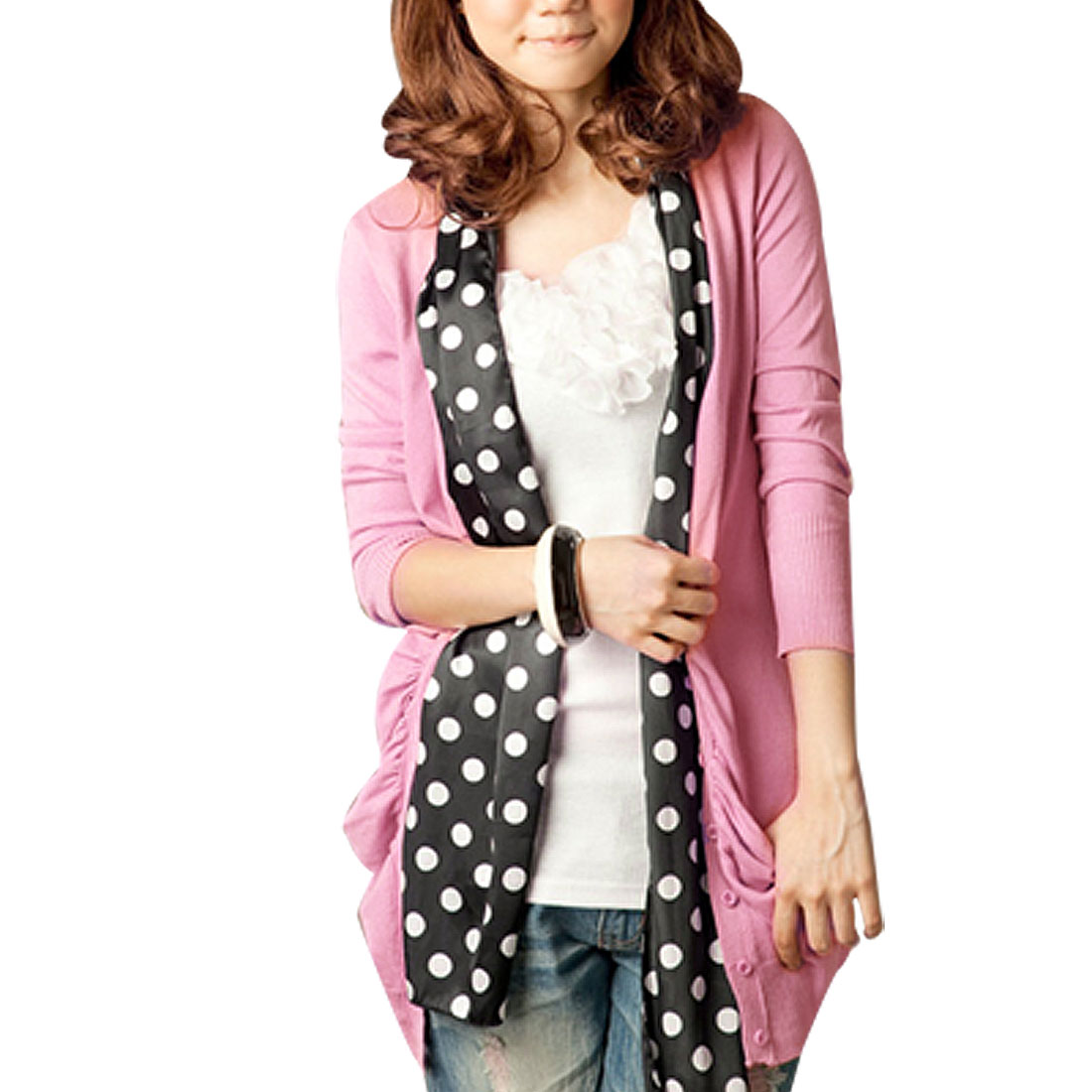 Lady Pink Knitting V Neck Button Up Long Sleeves Cardigan XS