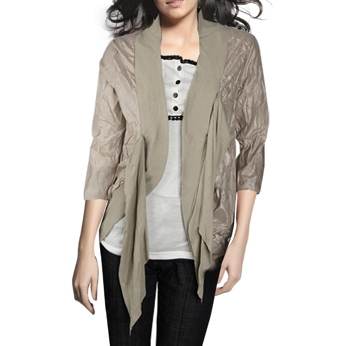 Khaki Front Opening 3/4 Sleeve Self Tie Ladies Shirt Top XS