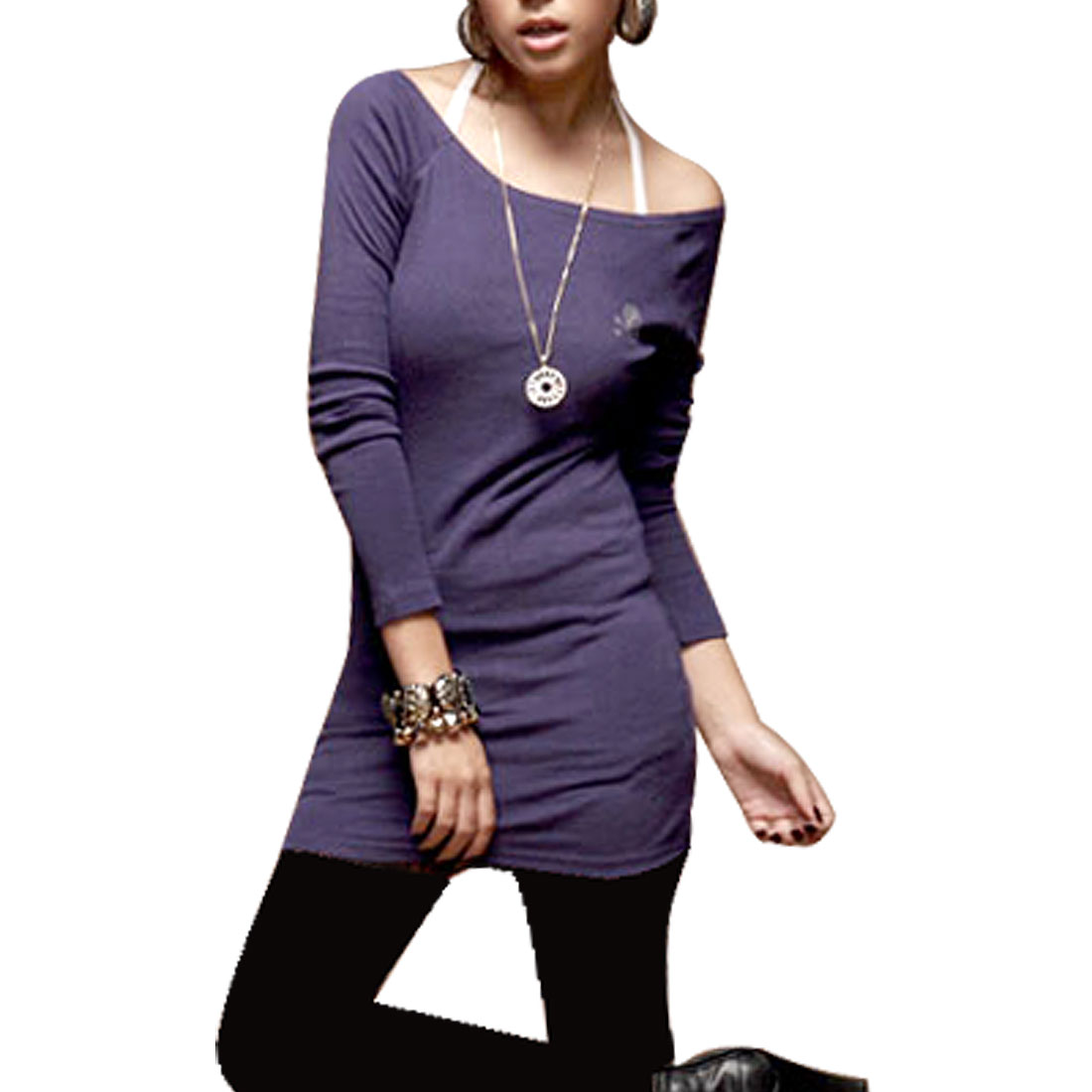 7119 Purple Skull Bones Design Off Shoulder Long Sleeve Stretchy Shirt for Ladies