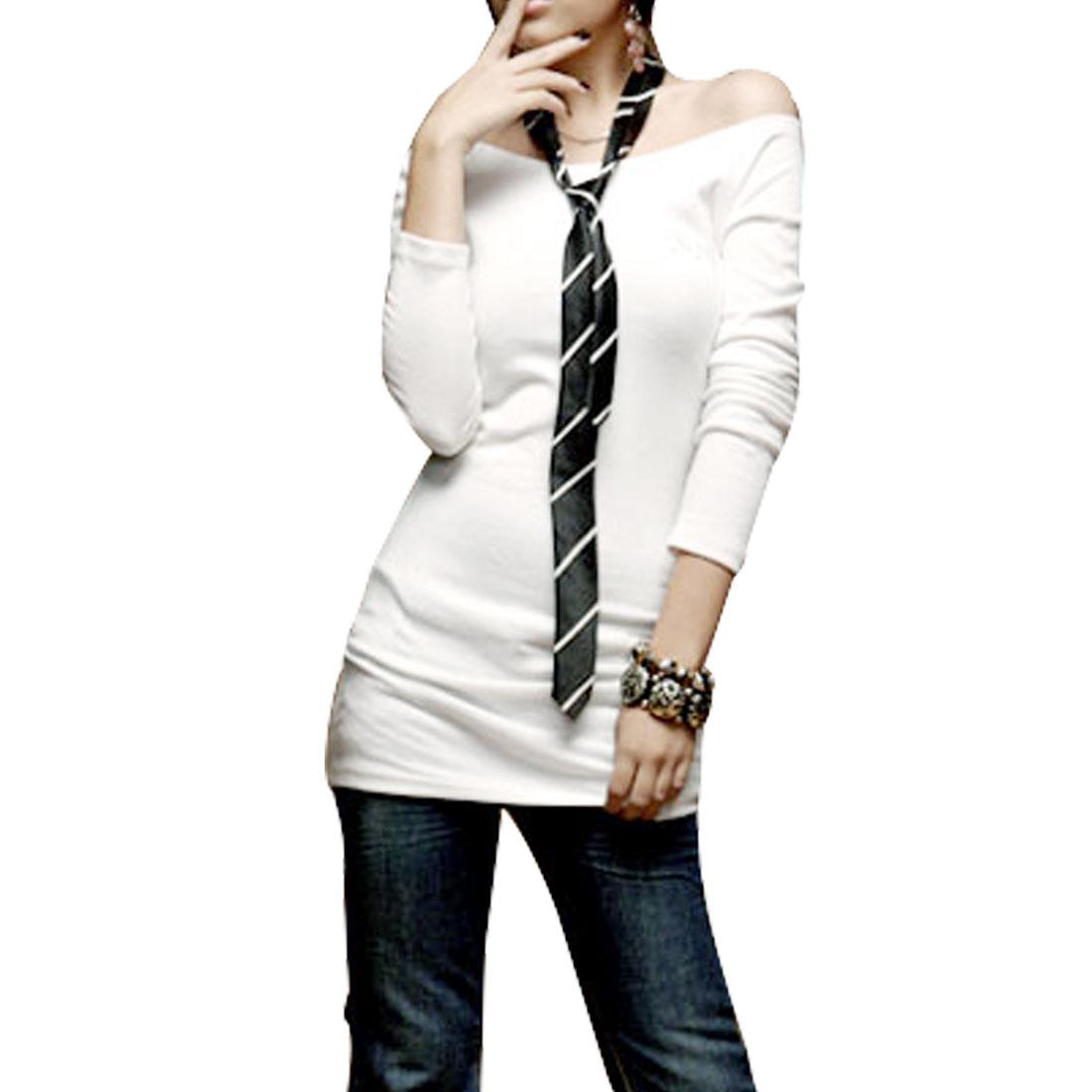 White Skull Bones Design Boat Neck Ladies Long Sleeve Shirt XS