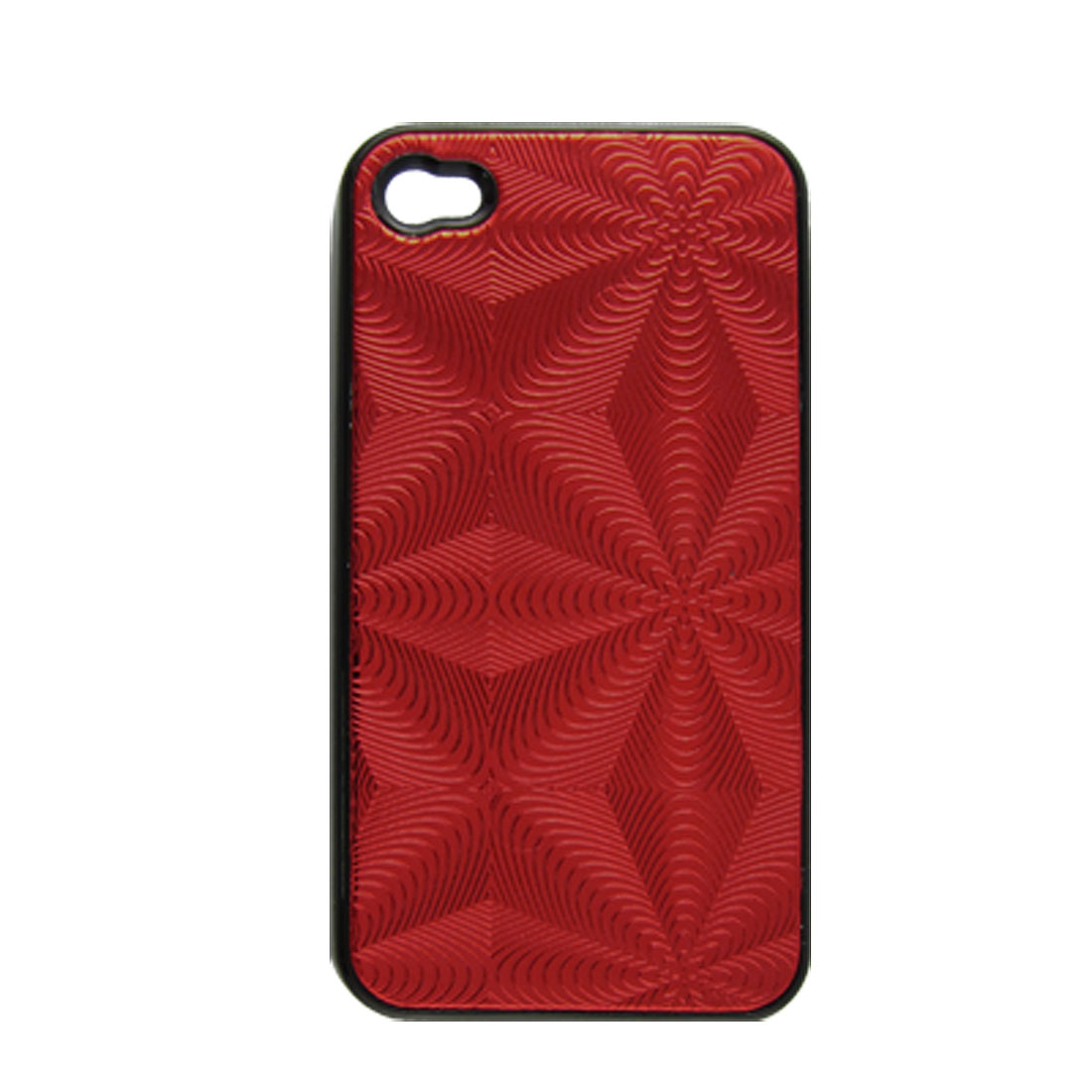 Red Shiny Ripple Faux Leather Coated Hard Plastic Cover for iPhone 4 4G