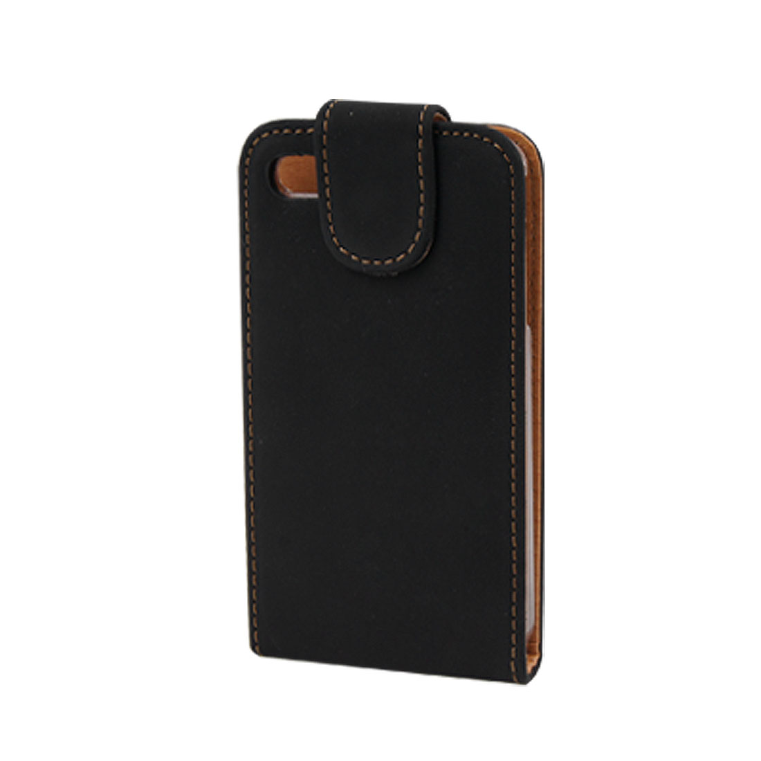 Magnetic Flip Black Faux Leather Vertical Case for iPhone 4 4G