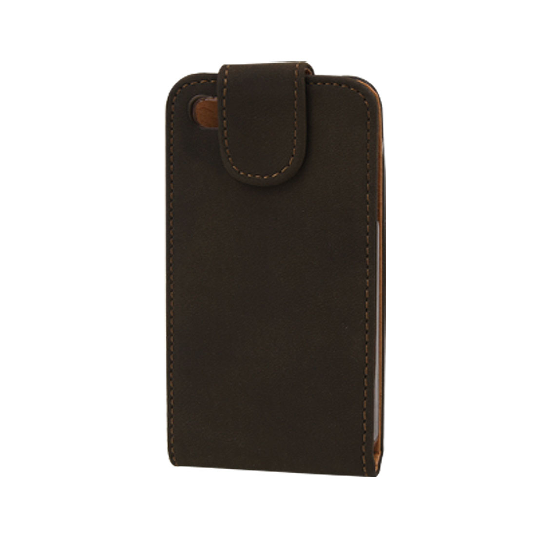 Coffee Flip Flap Closure Faux Leather Pouch for iPhone 4 4G