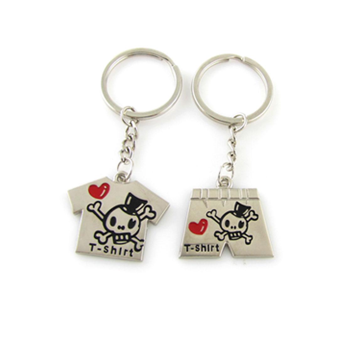 Pant Shirt Pendant Skull Pattern Keychain Couple Keyring