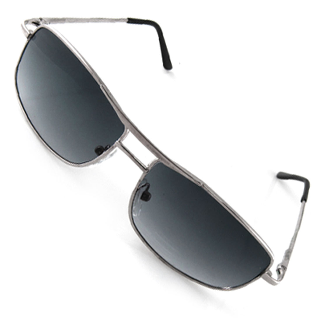 Children Square Lens Plastic Metal Arms Silver Tone Sunglasses