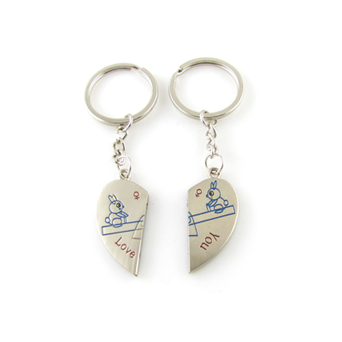 Rabbit on Seesaw Pattern Heart Charms Keychain for Couple