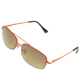 Children Black Orange Arms Amber Lens Double Brow Sunglasses