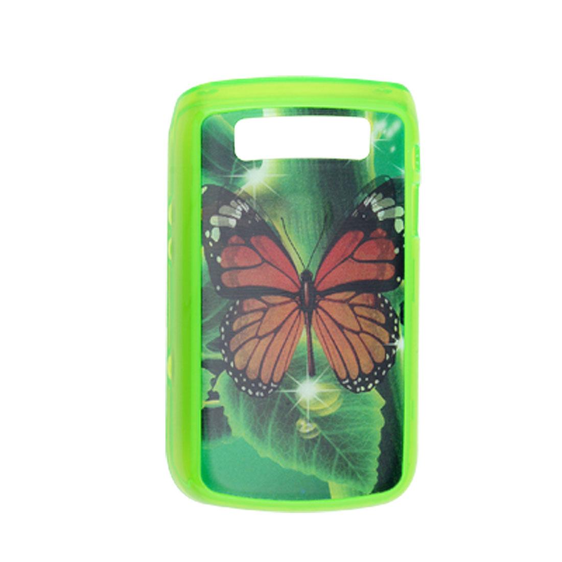 3D Butterfly Green Plastic Back Case for Blackberry 9700
