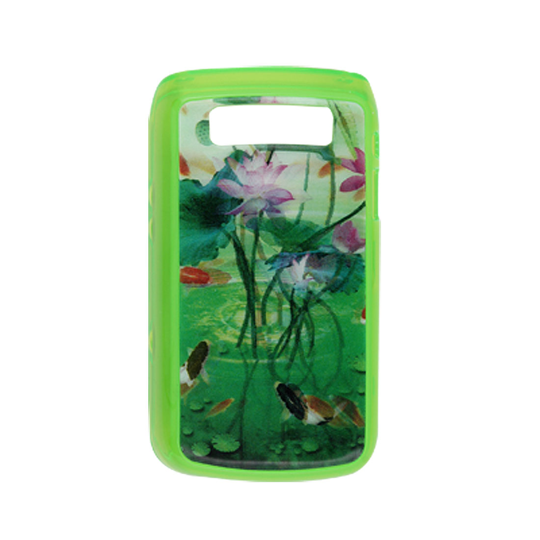 3D Lotus Green Plastic Back Case for Blackberry 9700