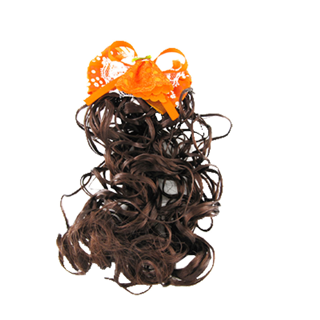 Brown Curly Periwig Orange Bowknot Faux Hair Pin Pieces for Child Girls