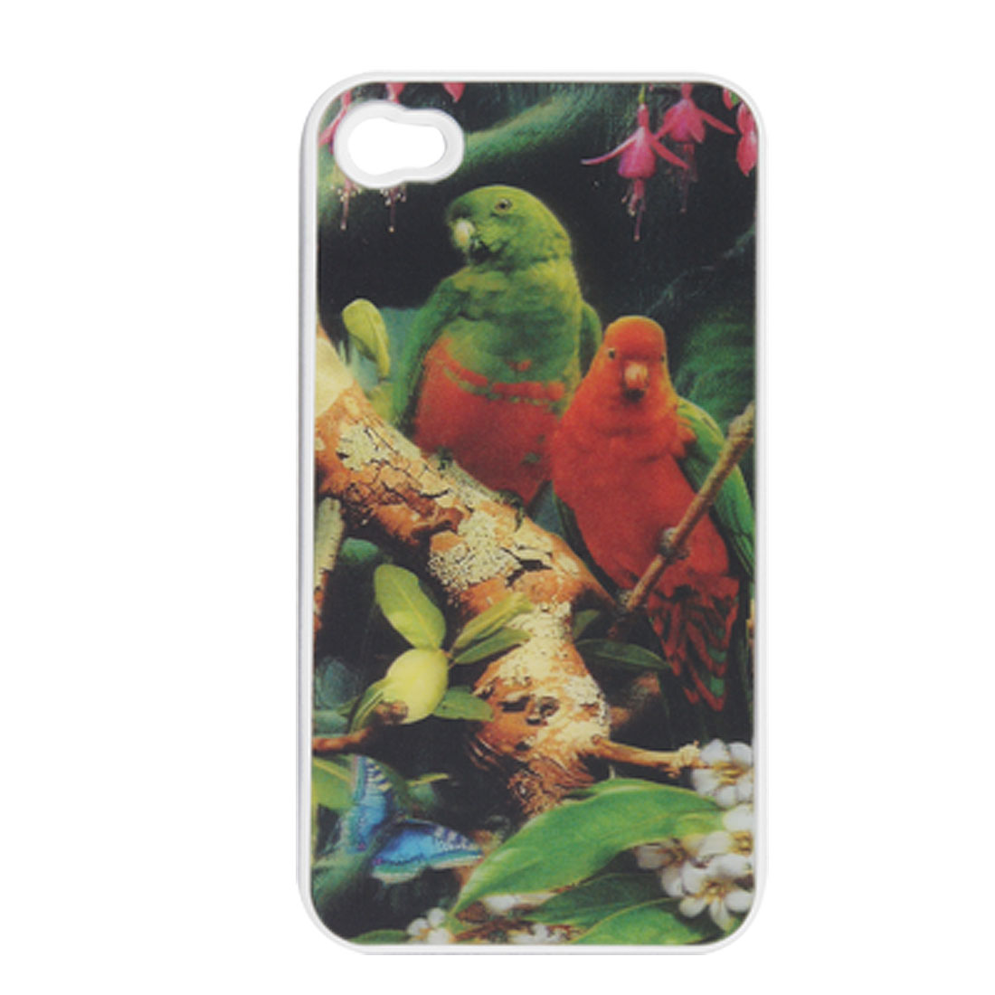 3D Bird Pattern Multicolor Plastic Back Shell for iPhone 4 4G