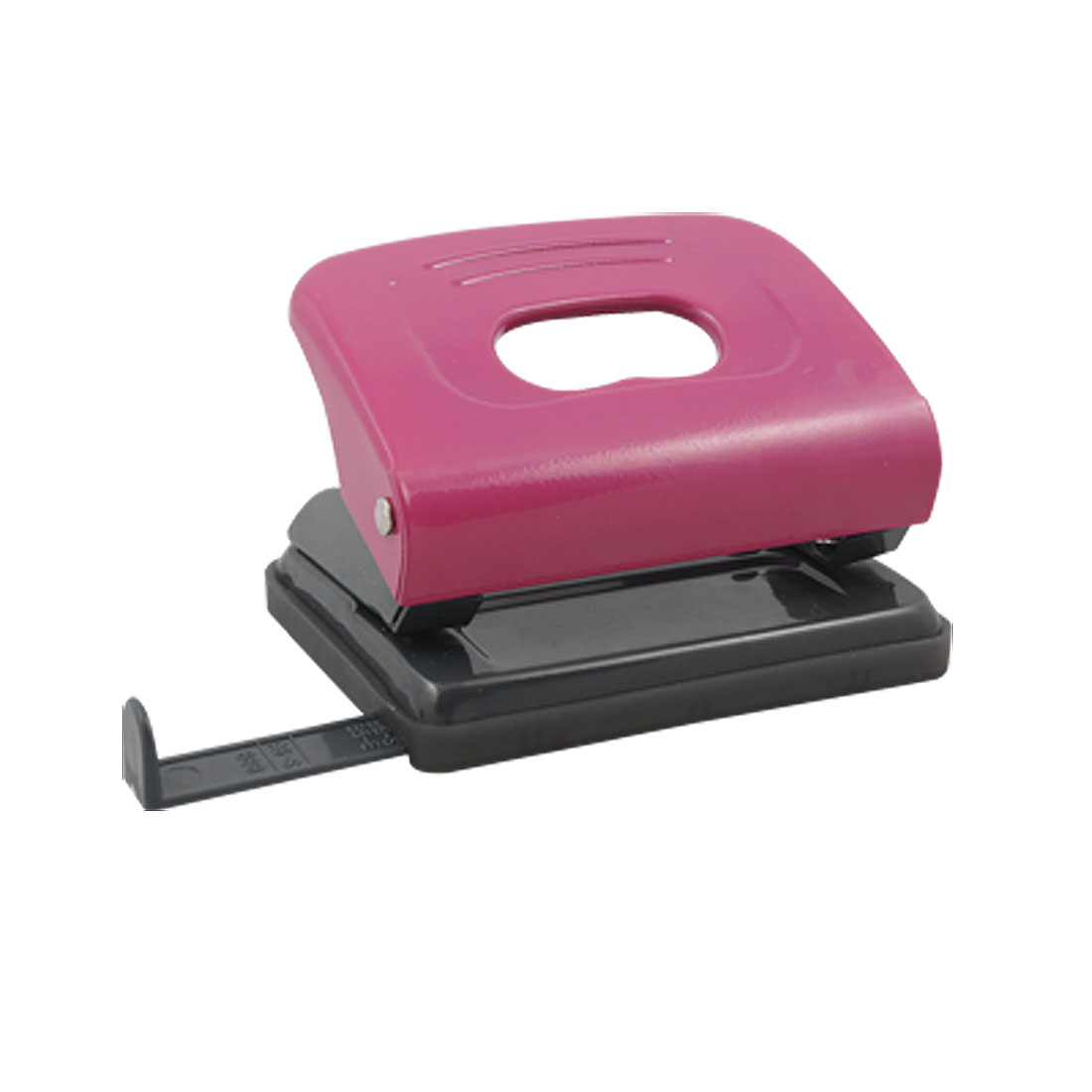 Office Stationery Metal 2 Holes Fuchsia Paper Punch 80mm Dia Gray Fuchsia