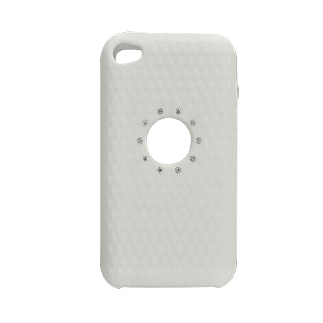 Rhinestone White Rhombus Silicone Skin for iPod Touch 4G
