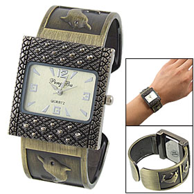 Rectangle Dial Bracelet Bangle Wrist Quartz Watch