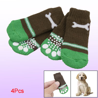 Pet Dog 4 Pcs Coffee Green Nonslip Bone Print Knitted Socks