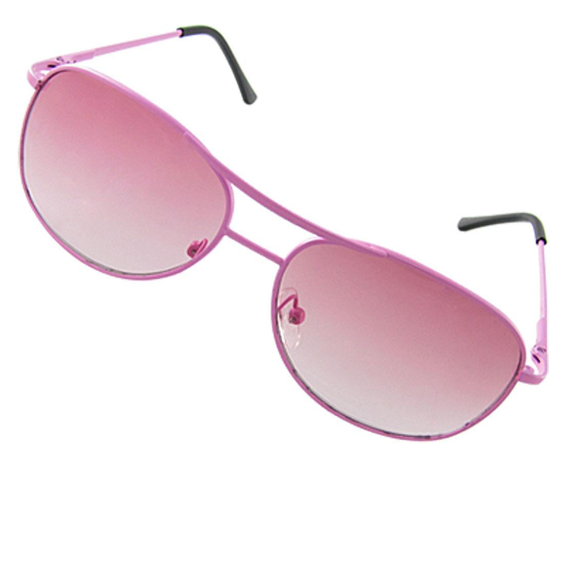 Child Black Plastic Arms Pink Lens Metal Frame Sunglasses