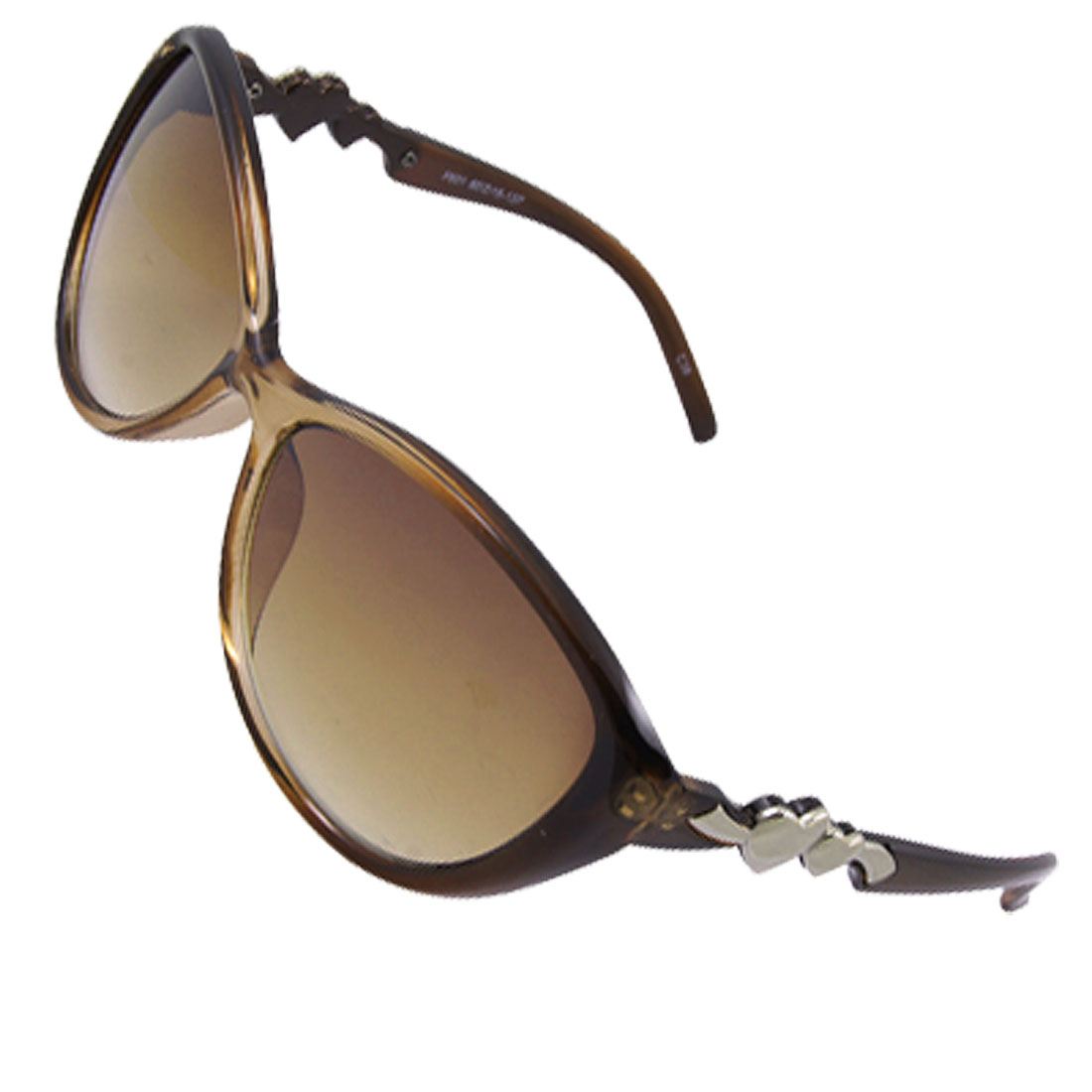 Ladies Double Hearts Decor Arms Clear Brown Full Frame Sunglasses