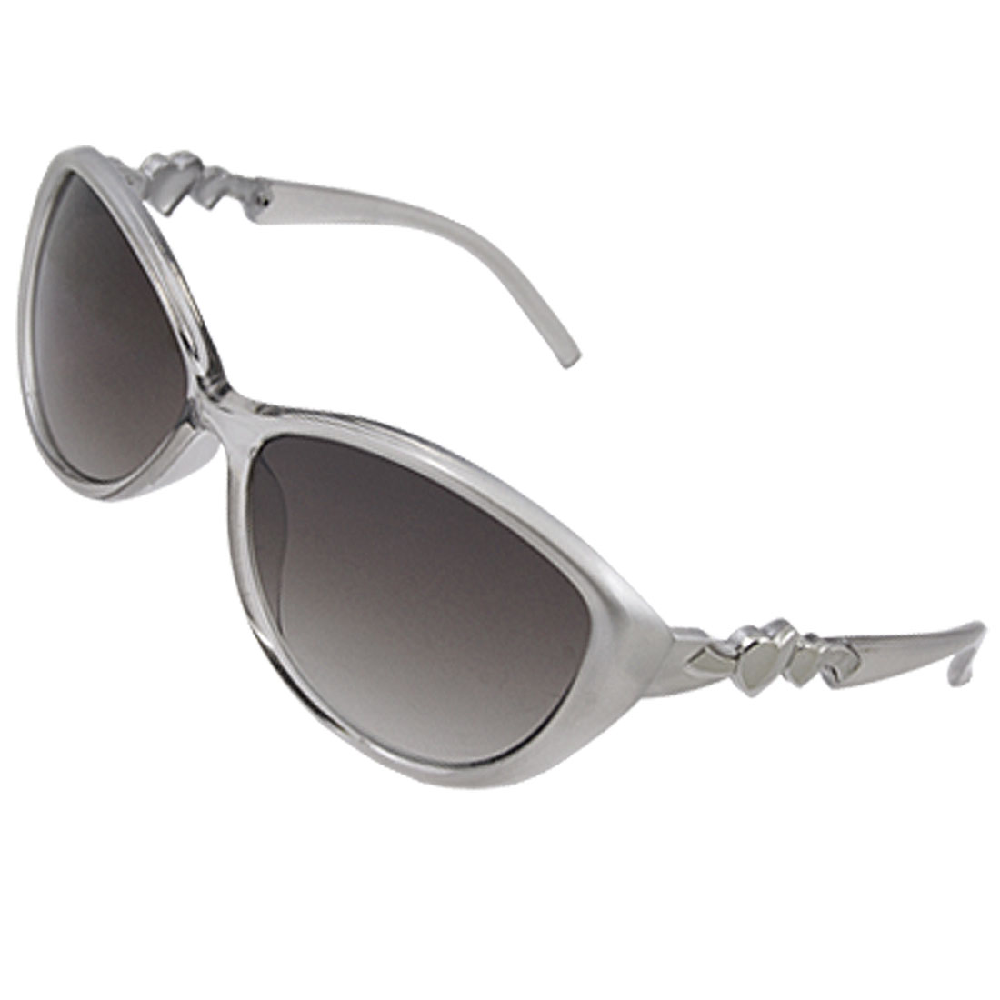Dark Oval Lens Heart Style Arm Gray Sunglasses for Women