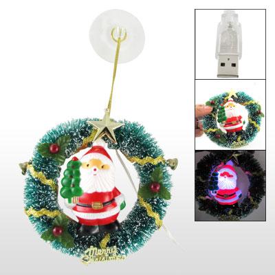 USB Flashlight Santa Clause Center Christmas Wreath X'mas Decor w Suction Cup