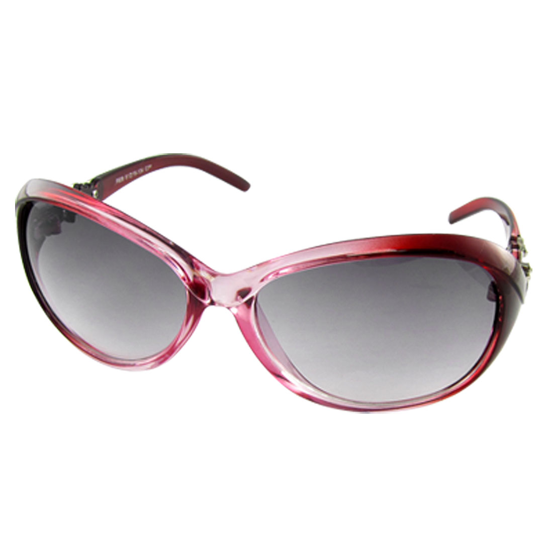Ladies Clear Purple Dual Snake Pattern Full Rim Oval Sunglasses